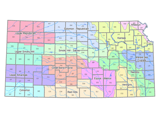 Map of Water Districts in Kansas